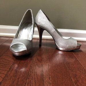Sparkly Silver Peep toe Heel
